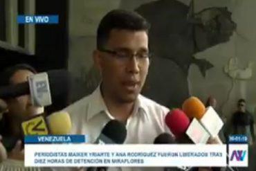 """¡TERRIBLE! El """"chiste"""" de militares a periodista detenido en Miraflores: Cuando pedí ir al baño me dijeron 'no te vayas a lanzar porque nos culpan a nosotros' (+Video)"""