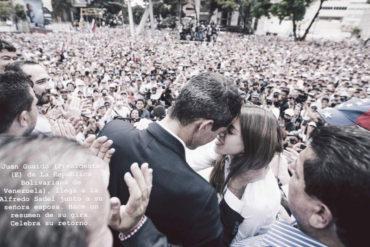 ¡MOMENTO TIERNO! El romántico agradecimiento de Guaidó a su esposa por acompañarlo pese a las amenazas del régimen (+Video)