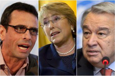 ¡TOMEN, PUES! El jalón de orejas de Capriles a Guterres y Bachelet por su inacción ante la crisis