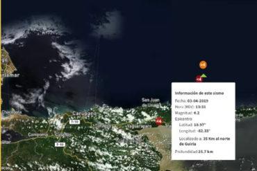 ¡LO ÚLTIMO! Sismo de magnitud 4.2 sacudió Güiria este #3Abr