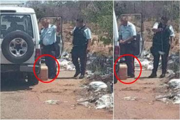 ¡QUÉ FALTA DE TODO! Denuncian que policías llenan envases con gasolina en estaciones de servicio sin hacer cola (Supuestamente la revenden en dólares +Fotos)