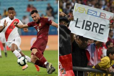 """¡VÉALA! """"Venezuela libre"""": la pancarta que se vio en el juego entre la Vinotinto y Perú (+Fotos)"""