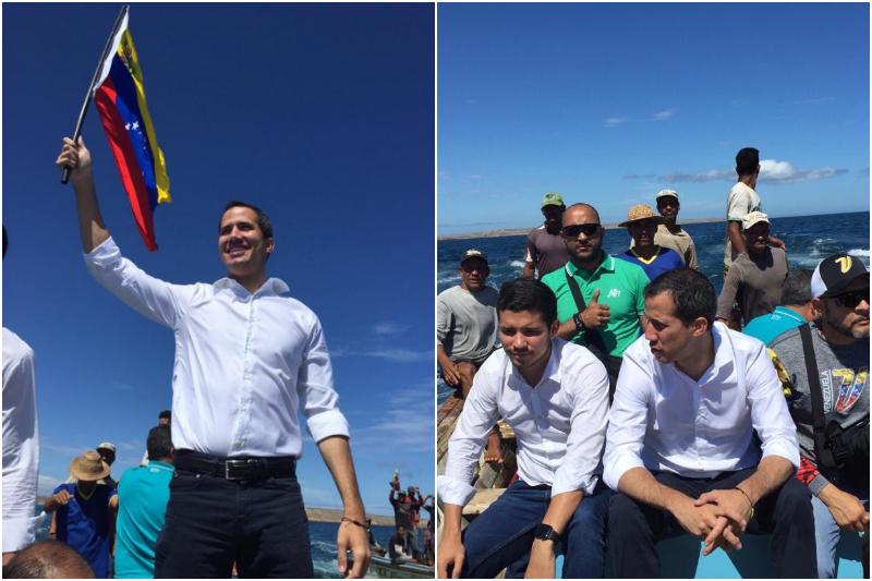 Guaidó llegó a Nueva Esparta en un peñero y ondeando la bandera