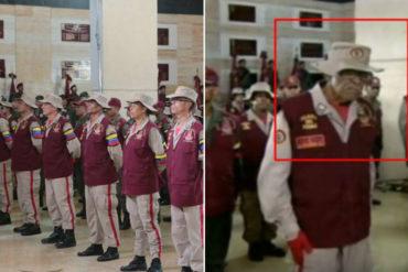 """¡HORA DE LA SIESTA! Este abuelito miliciano echó su camaroncito """"de pie"""" durante el """"divertido"""" discurso de Maduro por aniversario 81 de la GNB"""