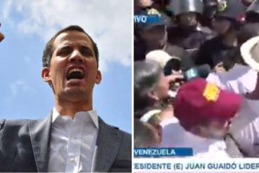 """¡FRONTAL! Guaidó se planta ante el piquete de la PNB: """"Todo aquel que viole DDHH va para la Corte Penal Internacional"""" (+Video)"""