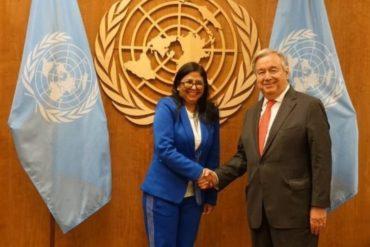 ¡MUERTA DE LA RISA! Delcy entregó a Guterres el acuerdo suscrito con partidos minoritarios de la oposición
