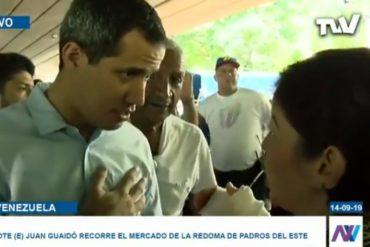 ¡VEAN! La respuesta de Guaidó a esta ciudadana que le pidió acciones durante recorrido por el mercado La Redoma en Prados del Este (+Video)