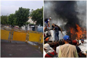 """¡PATÉTICO! Régimen cerró una avenida en Táchira por la """"celebración"""" del día que impidió la entrada de la ayuda humanitaria (+Fotos)"""