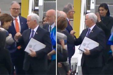 """¡MÍRELO! """"Choque de codos"""" El saludo preventivo al coronavirus que usó Pence en su regreso a Washington (+Video)"""