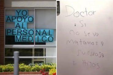 ¡SIN PALABRAS! Las terribles amenazas de unos vecinos contra una pediatra que ayuda a pacientes con COVID-19 (+carteles e insultos)