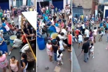 """¡INSÓLITO! La """"trifulca"""" que se armó en Petare mientras vecinos esperaban por un camión cisterna (+Video)"""
