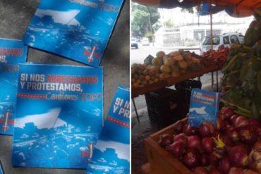"""¡A PUNTO DEL DESBORDE! """"Si nos arrechamos y protestamos cambiamos todo"""": Aparecen en mercados de Caracas panfletos llamando a manifestar contra el régimen (+Fotos)"""