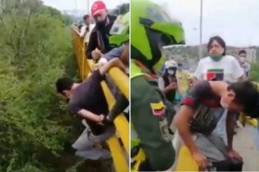 ¡NO SE LO PIERDA! El momento en el que rescatan a un joven que intentó saltar desde un puente en Cúcuta (+Video)