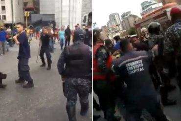 ¡QUÉ VERGÜENZA! Golpes y empujones: la trifulca que se armó con funcionarios de la PNB y bomberos en la Zona Rental de Caracas (+Videos bochornosos)