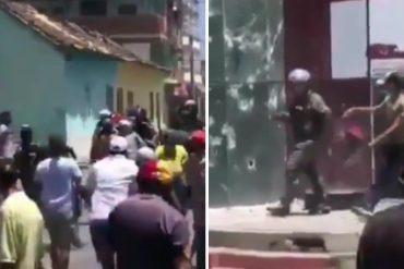 ¡INSÓLITO! Ciudadanos desarmaron a funcionarios de la GNB que reprimían manifestación cerca de la alcaldía de Chivacoa, en Yaracuy (+Video)