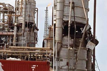 """¡VEA! Así quedó la torre de destilación de la refinería Amuay tras explosión por «presión interna»: Régimen de Nicolás Maduro asegura que fue un """"atentado"""" con un misil (+Foto)"""