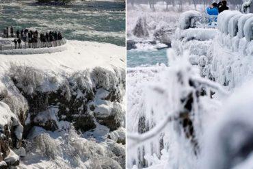 ¡LE MOSTRAMOS! Las espectaculares imágenes de las cataratas del Niágara congeladas tras la ola de frío extremo que azota EEUU (+Fotos +Videos)